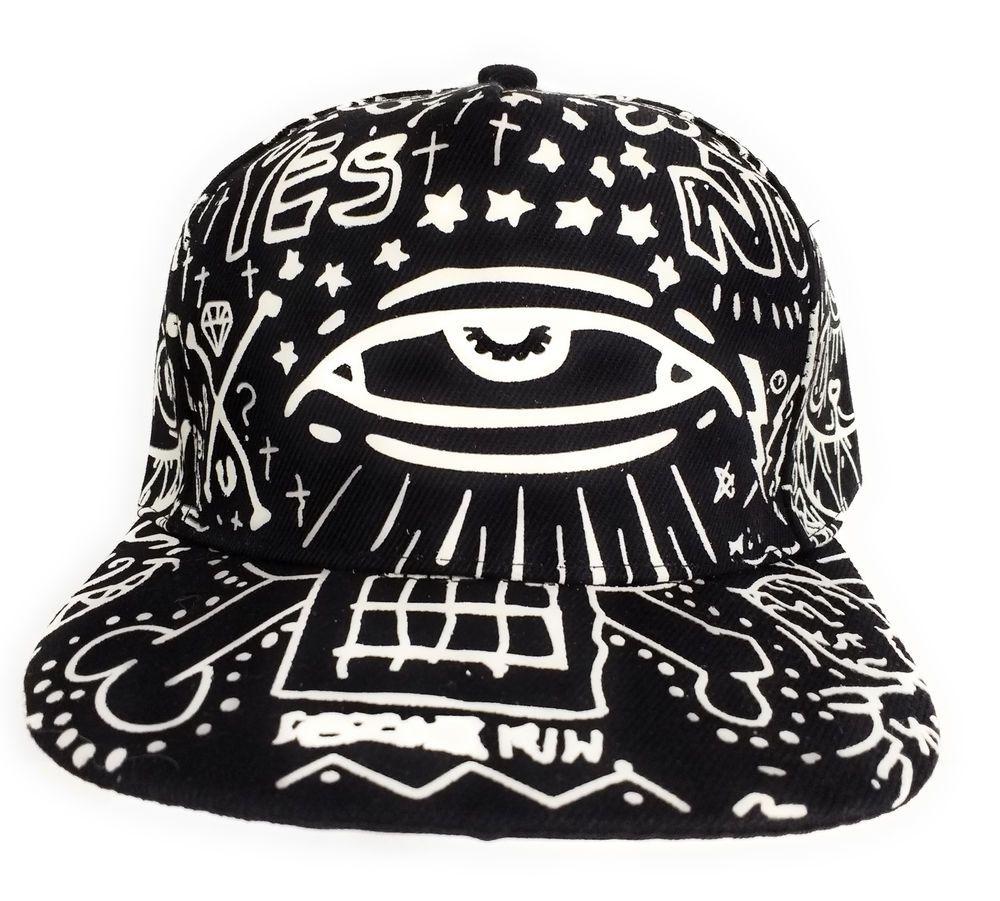 All Seeing Eye Graffiti Skateboard Hip Hop Style Black   White Graphics Hat   Unbranded  BaseballCap effb59bd1e99