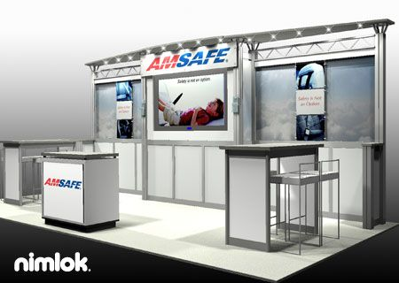Nimlok creates and builds portable trade show exhibits and displays. For AMSAFE we designed and built a 10x20' trade show booth to showcase their brand.