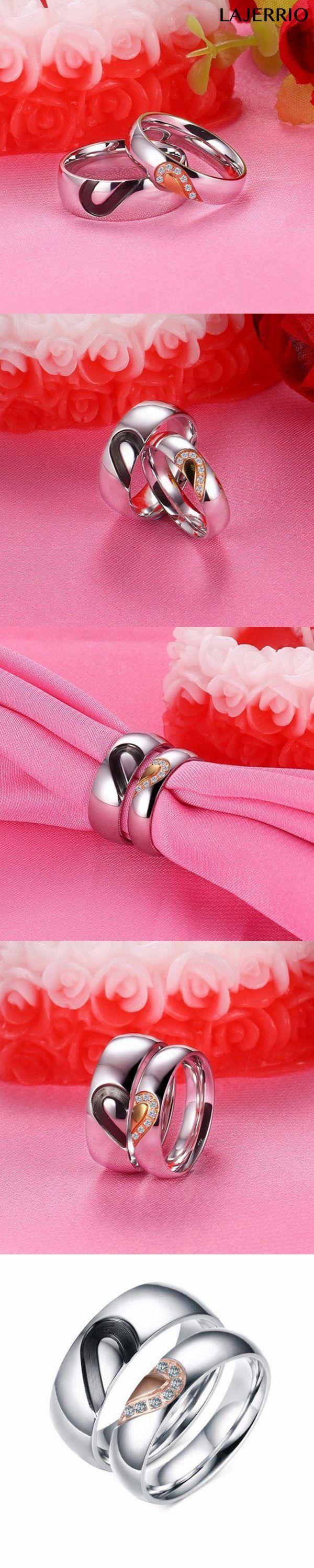 Black Rose Gold & Silver Titanium Steel Promise Rings for Couples ...