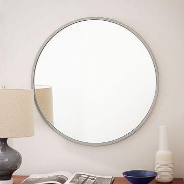 Metal Framed Round Wall Mirror Brushed Nickel Westelm Espejos
