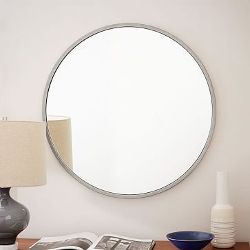 brushed nickel mirror. Metal Framed Round Wall Mirror - Brushed Nickel 30\