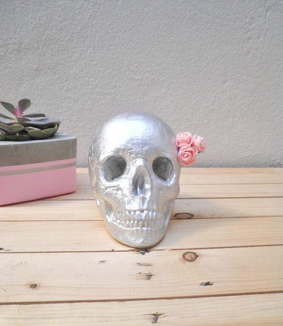 Silver Skull Home Decoration Por MundoIzarra En Etsy