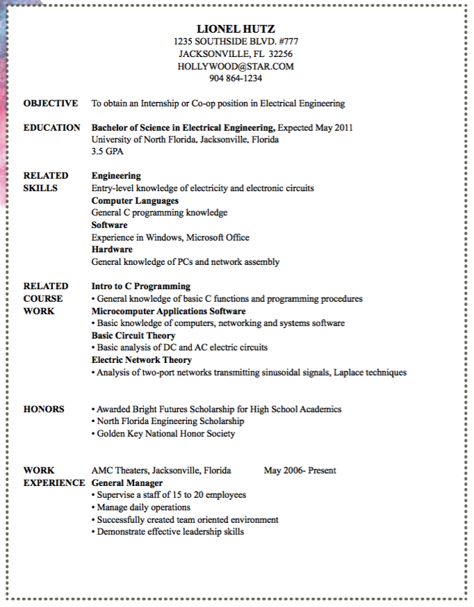 Journalism Resume Electrical Engineer Sample Resume  Httpexampleresumecv