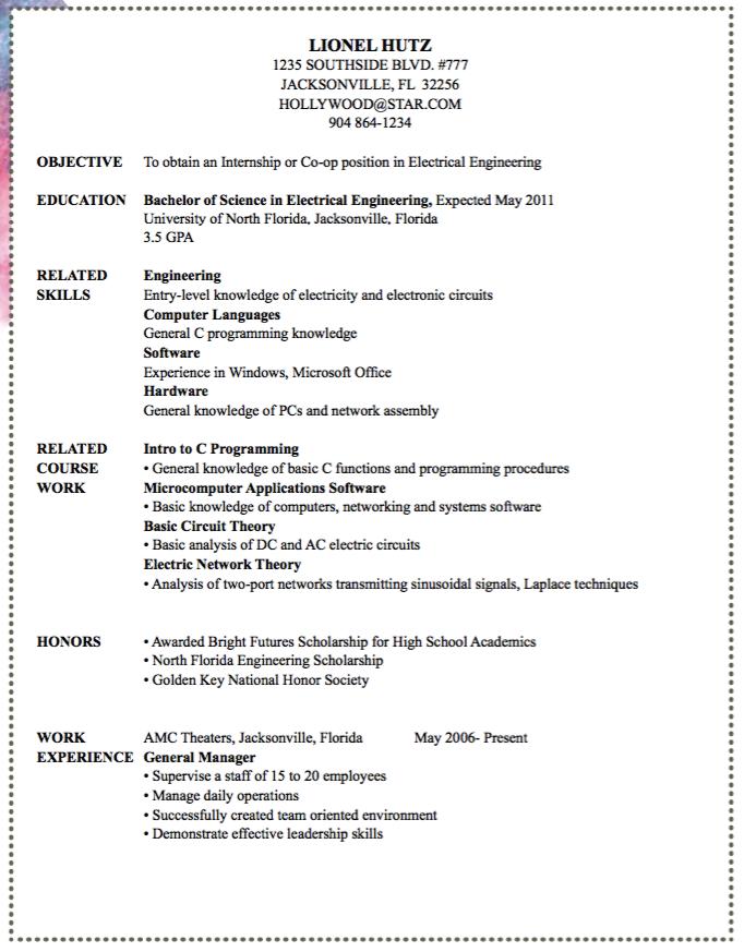 Electrical Engineer Sample Resume Examples Resume Cv Engineering Resume Sample Resume Internship Resume