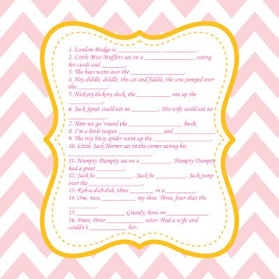 Fill In The Blank Nursery Rhyme Baby Shower Game Baby Shower