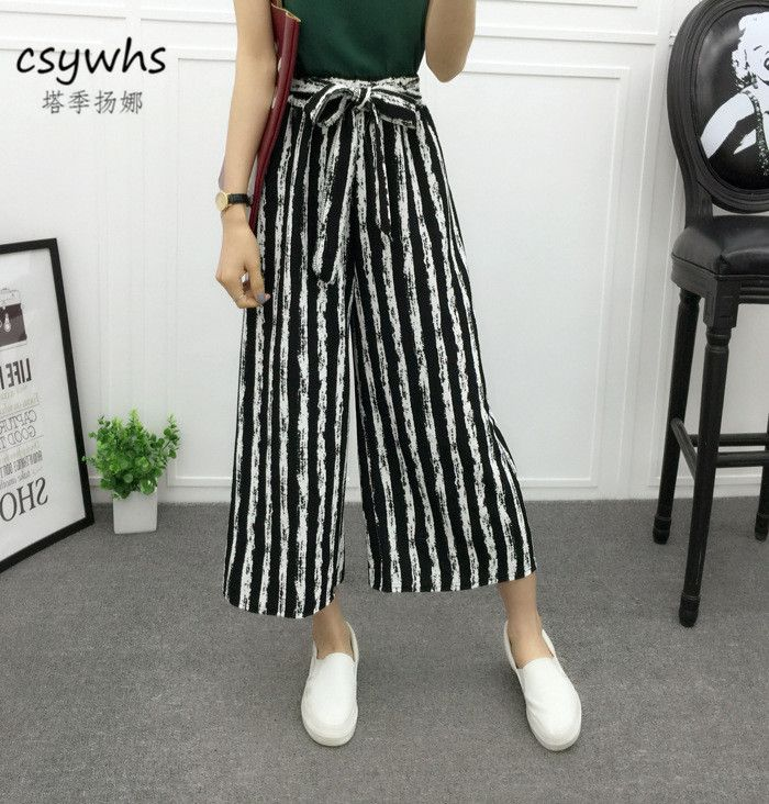 cb6eed53ca8c Summer Casual Women Elastic High Waist Striped Wide Leg Pants Capris Black  White Stripe Loose Trousers