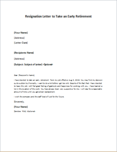 Resignation Letter To Take An Early Retirement DOWNLOAD At  Http://writeletter2.com  Retirement Letters