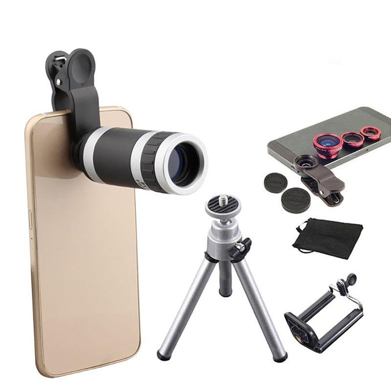 6in1 Phone Camera Lenses Kit 8x Telephoto Lens 3in1 Fish Eye Wide Angle Macro Lentes Mini Tripod For iPhone 5s 6 6s 7 Huawei p6