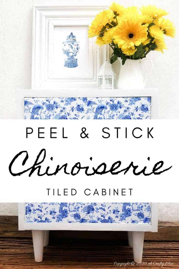 A gorgeous Chinioserie vinyl tile makeover that's easy to do and even easier to change #ChinoiserieDecor #VinylTile #EasyMakeOver #HomeDecorDIY #chinoiserietiles #ACraftyMix #blueandwhitedecor #chinoiseriechic #VinylTileDecor #DIYTutorial #TileVera #furnitureflip