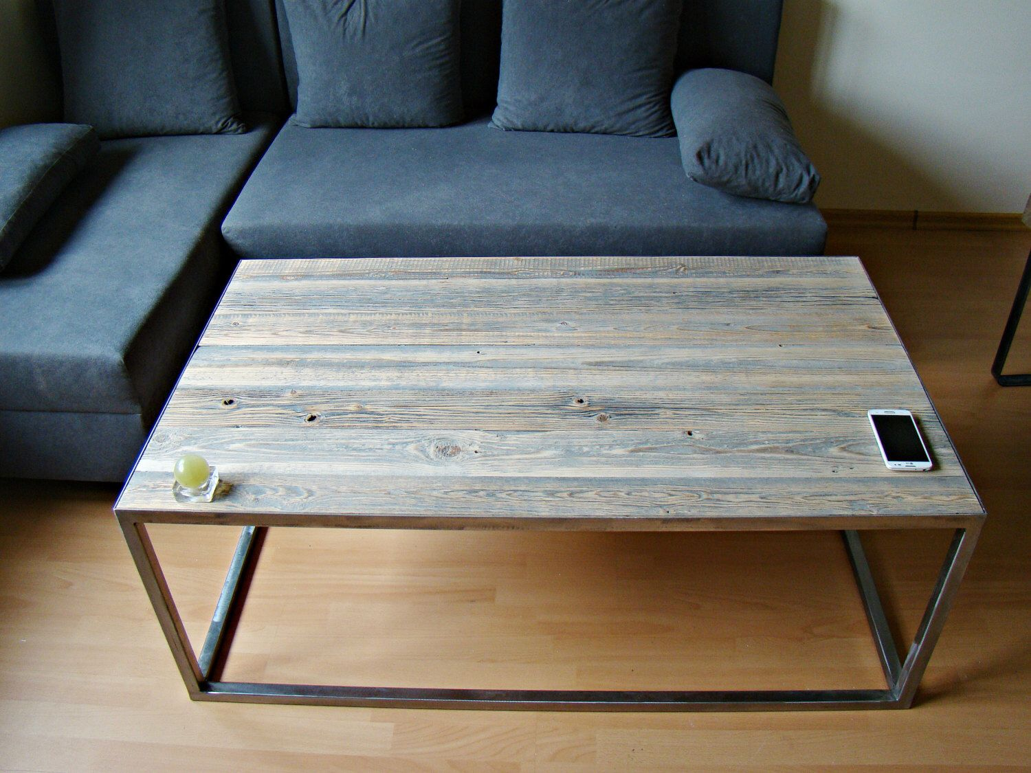 Couchtisch Stahlrahmen Industrial Wooden Metal Coffee Table Rustic Reclaimed