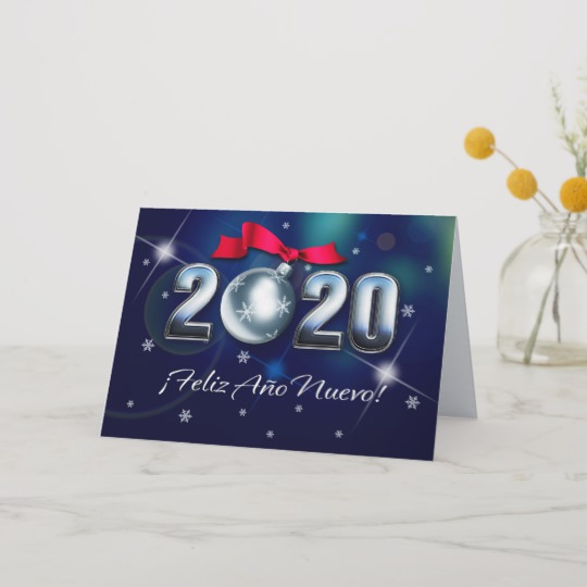 Feliz Año Nuevo 2020. New Year Card in Spanish | Zazzle.com