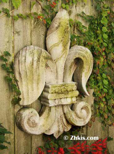Large Fleur de lis Wall Plaque | Gardens, Board and Concrete