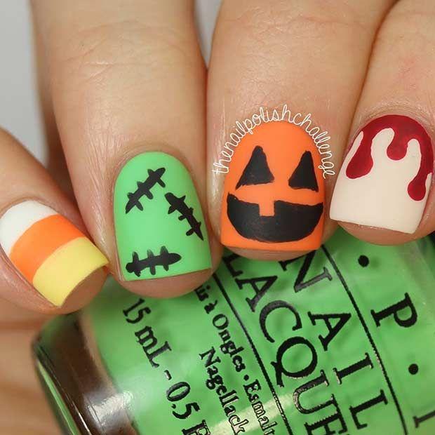 25 Creative Halloween Nail Art Ideas Pinterest Short Nails