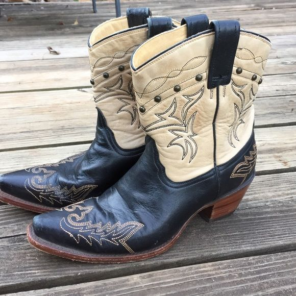 Corral Boots genuine leather cowboy boots Great condition  Black and cream soft leather with studs. There comfortable awsome boot Correl boots Shoes Ankle Boots & Booties