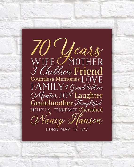 70th Birthday Gift For Mom Grandma 70 Year OId Born 1947 Grandmother Mother In Law Moms Bday Party Wine