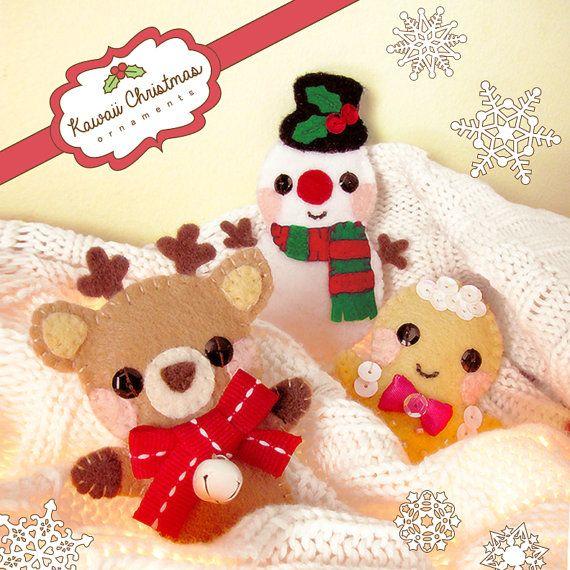 Kawaii Felt Christmas Ornaments Cute Craft Pattern