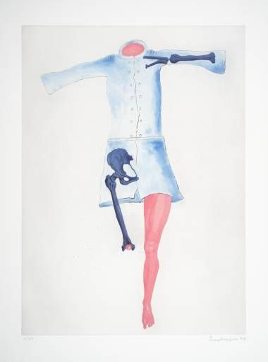 """Louise Bourgeois - """"Blue Dress""""- 1988. Very unique work which you can identify as louise's work from the random bones on bodys she draws."""