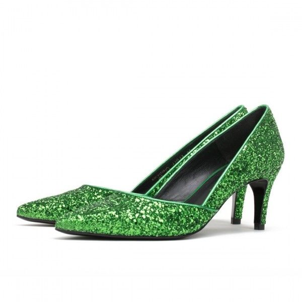 3f7141ee7c Women's Style Pumps Fall Fashion Trends 2017 Fall Outfits 2017 Women's  Green Sequined Kitten Heels Pointy Toe Pumps Street Style Outfits Fall  Womens Fashion ...