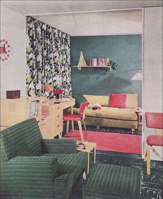 Mid Century Modern Design Cool House: 1951 Modern Living Room - Levitt Plan In 2019