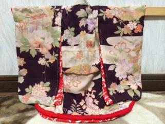 市松人形用正絹 絹紅梅織手縫い振袖単品 比翼仕立 仕付糸付 美品