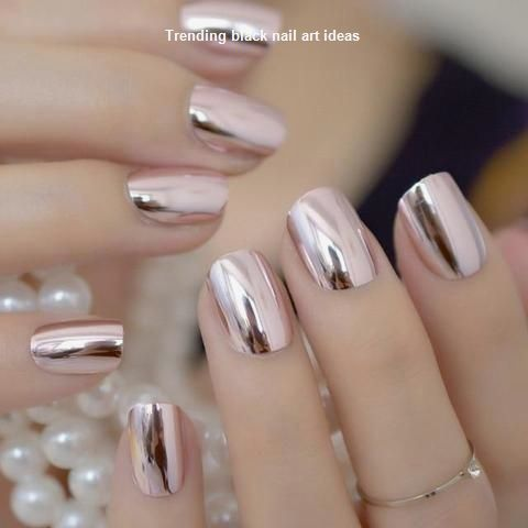 20 simple black nail art design ideas 1  metallic nails