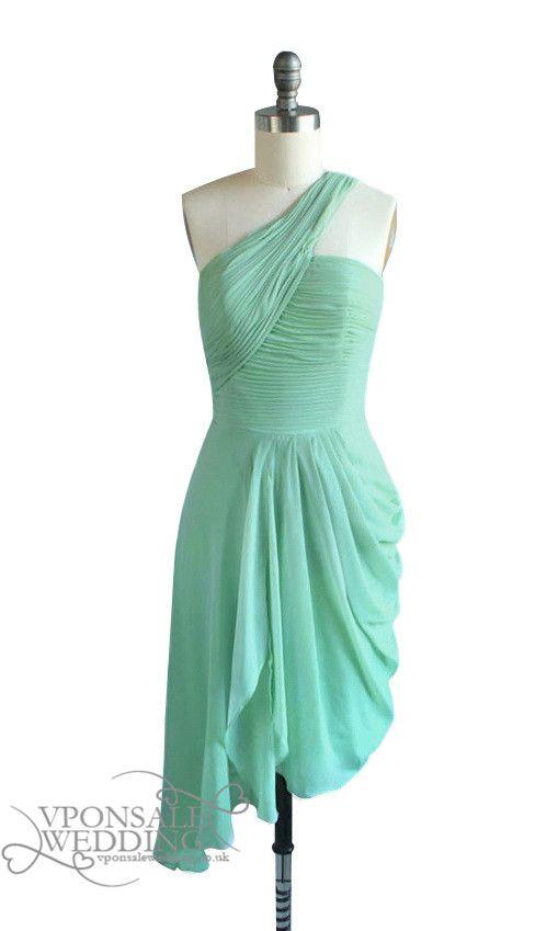 mint green one shoulder bridesmaid dress. Black Bedroom Furniture Sets. Home Design Ideas