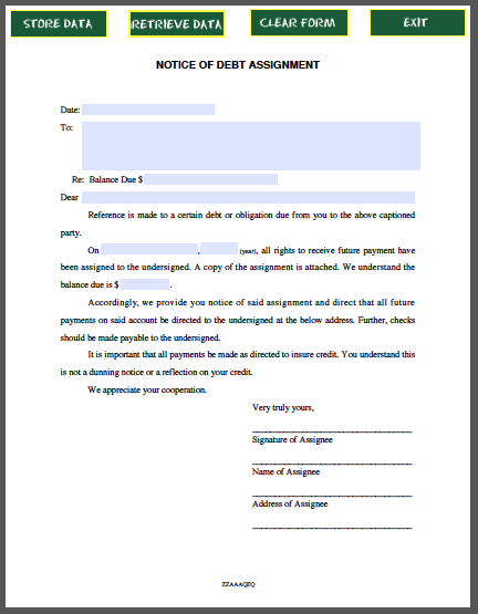 Bill Of Form Pdf Debt Diagram Accounting Chart Template
