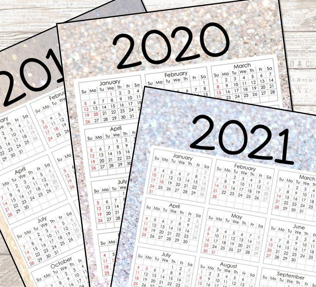 2020 2021 Annual Calendar On One Page Annual Calendar Calendar Planner Calendar