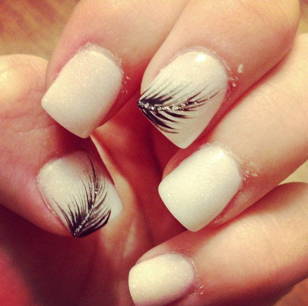 Nude Feather Nail Design - 15 Feminine Feather Nail Designs For 2016 Design Per Nail Art