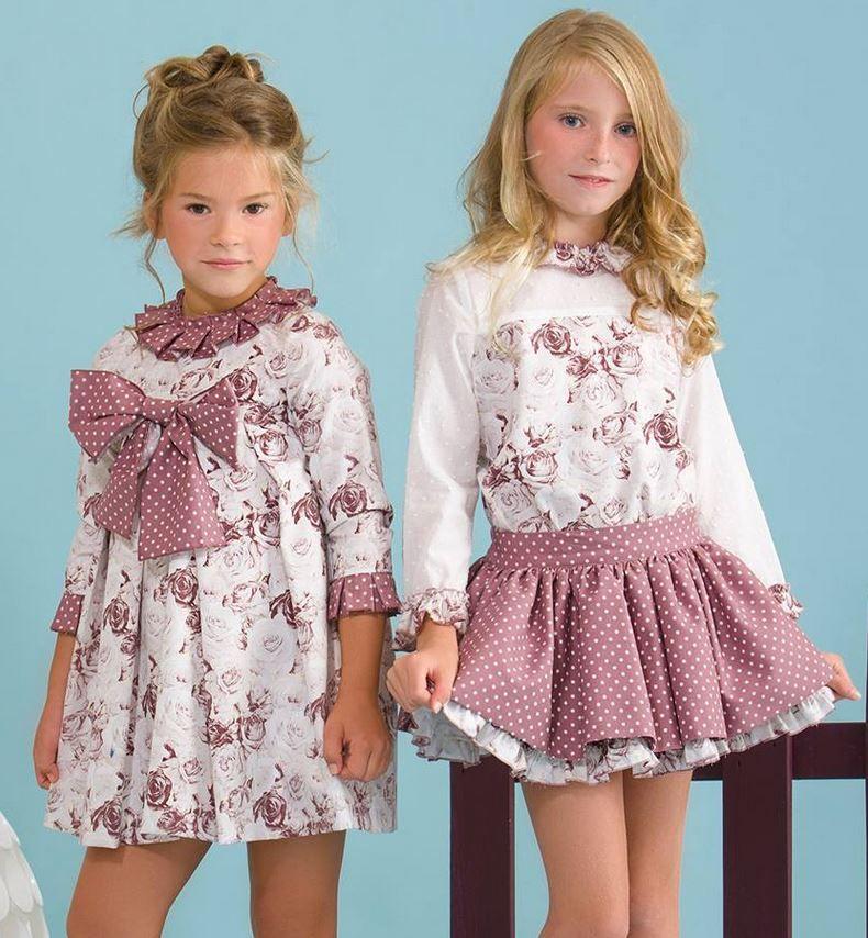 fefba68ea Vestido y conjunto falda rosa antiguo de Copo | Confección infantil ...