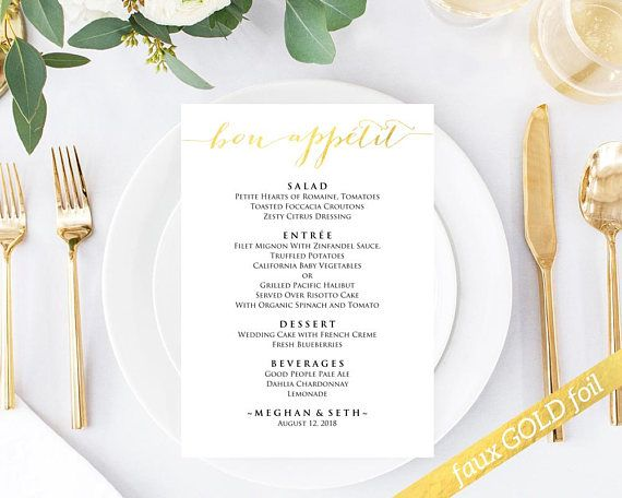 Bon Appetit Menu Template Instantly Download Edit And Print Your