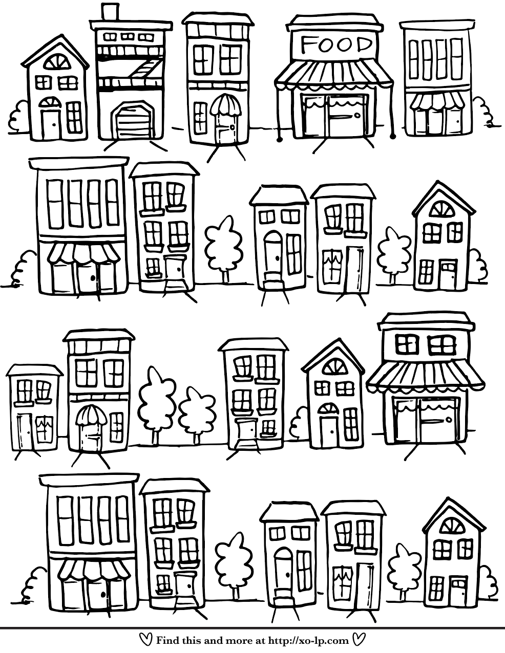 Neighborhood Printable Coloring Page Xo Lp Summer Coloring Sheets Printable Coloring Pages House Colouring Pages