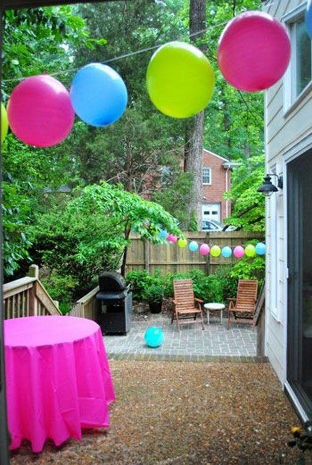 Balloon Garlands Also Fun Outdoor Birthday Party Decor Ideas Parties Rh