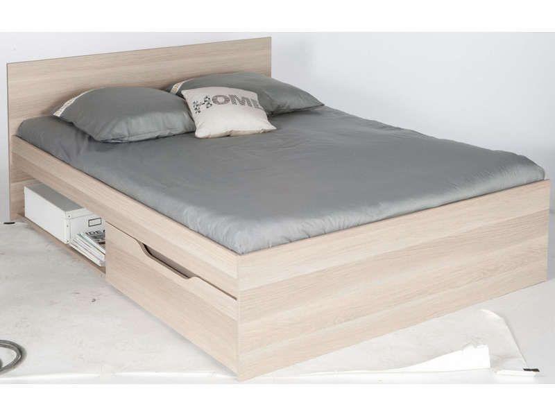 Lit 140 cm 2 tiroirs vendu sans sommier ni matelas zap 2 - Conforama sommier 70x190 ...