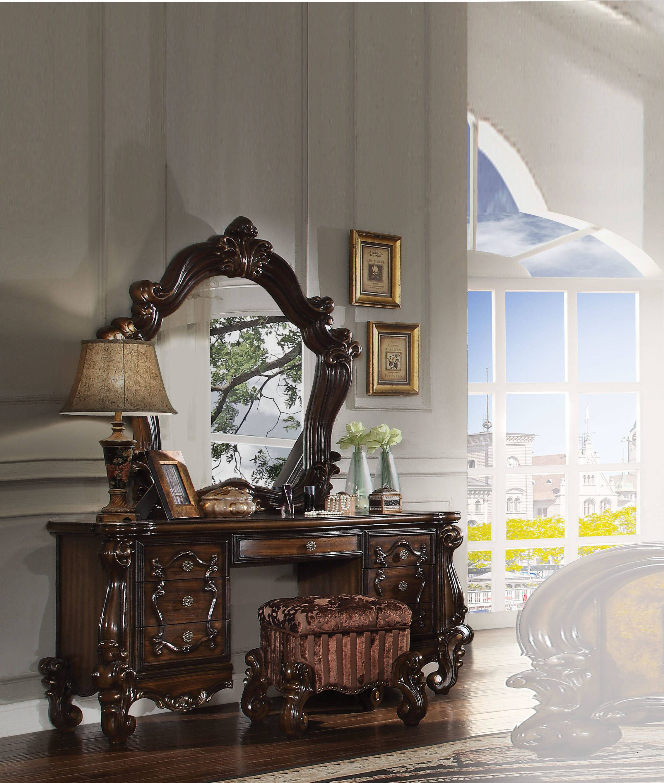 Versailles Cherry Oak Fabric Wood Vanity Desk Amp Mirror