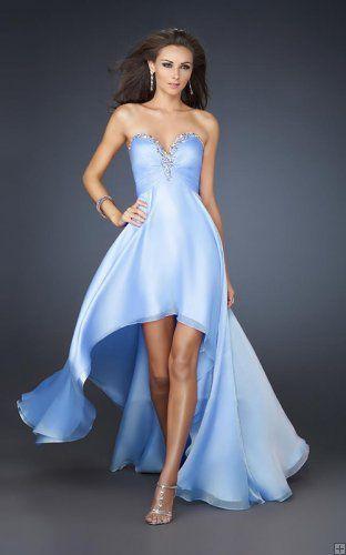 Blue Hi-Low Dresses Wholesale Cheap