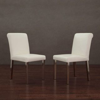 Brilliant Cosmopolitan Stainless Steel Modern White Leather Dining Evergreenethics Interior Chair Design Evergreenethicsorg