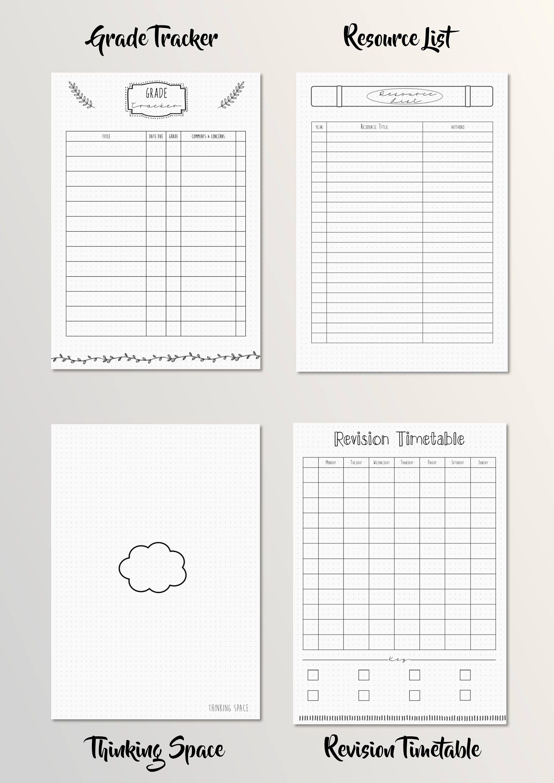 bullet journal academic school student planner printable