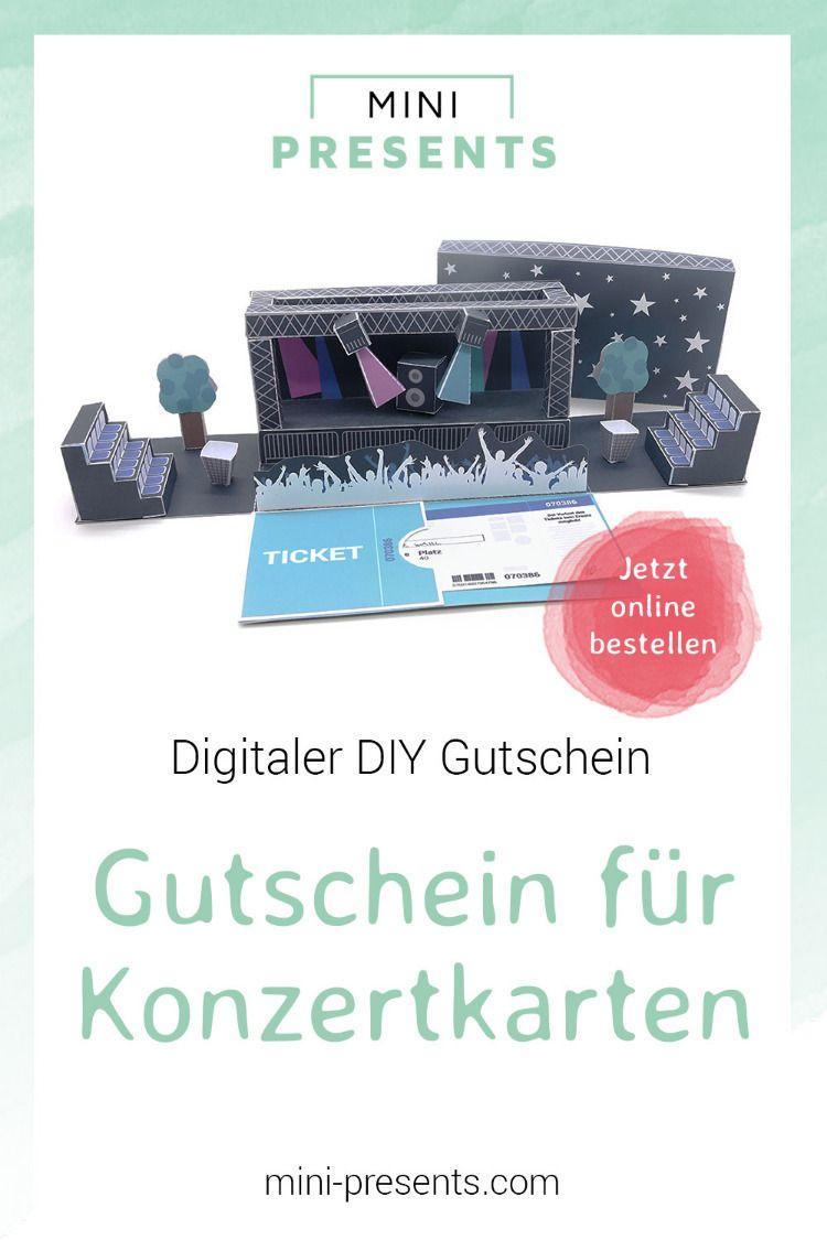 DIY Geschenk Gutschein für Konzertkarten #konzertkartenverpacken