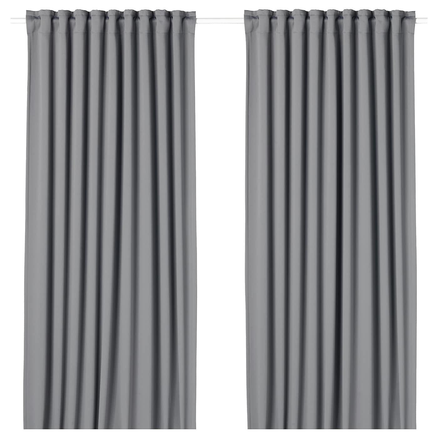 Majgull Blackout Curtains 1 Pair Gray 57x98 Block Out Curtains Blackout Curtains Double Rod Curtains