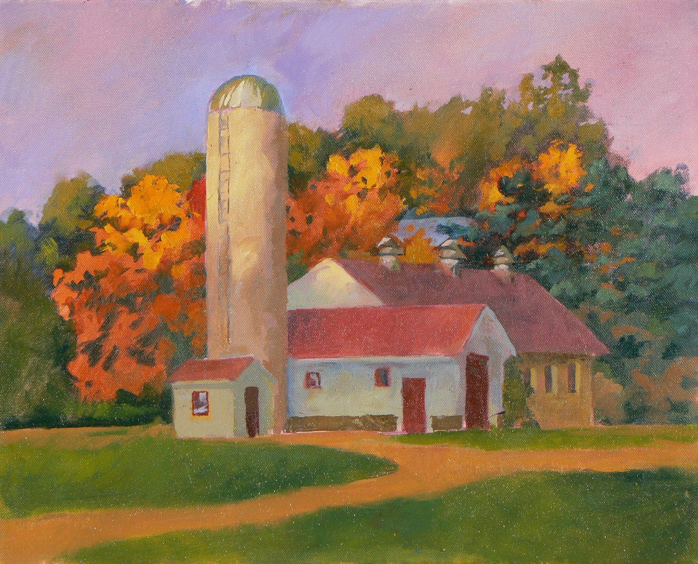 "Dan Nichols ""October s Last Glow"" Oil on canvas 15 5 x 19 5 inches"