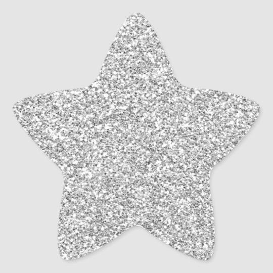 Silver Glittery Metal Esque Sticker Zazzle Com Star Stickers Monogram Stickers Glitter Print