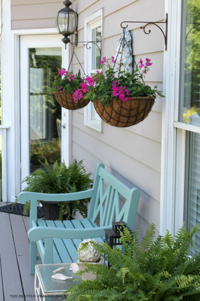 Behr deckover product review deck makeover front deck for Front porch hanging plants