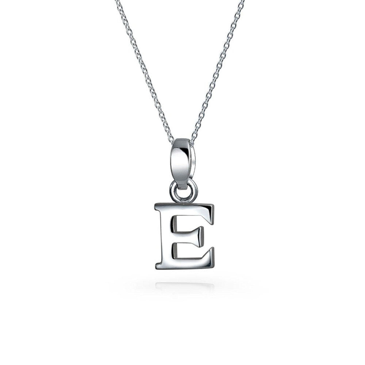 Block letter e sterling silver initial pendant necklace in