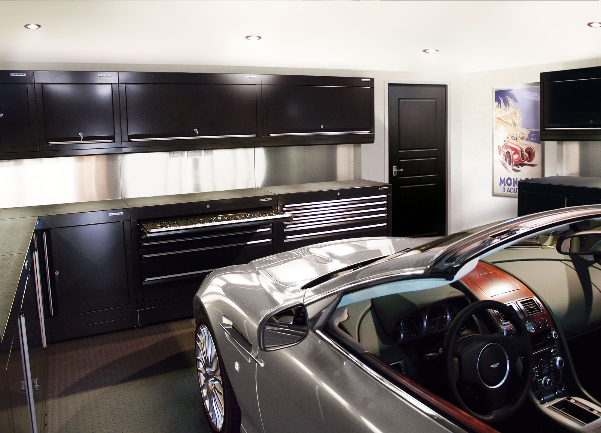 Interior Of Car Garage Decoration Large And High Ceiling Car