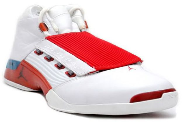 online store d28ef fb543 Air Jordan 17 White Varsity Red Charcoal were nicely made, so they came  equipped with a removable mid-foot strap