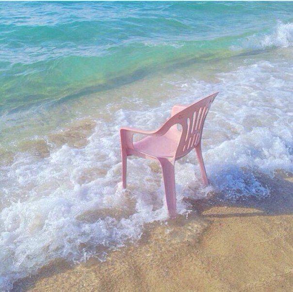 #sea #ocean #plastic #pink #chair #sand