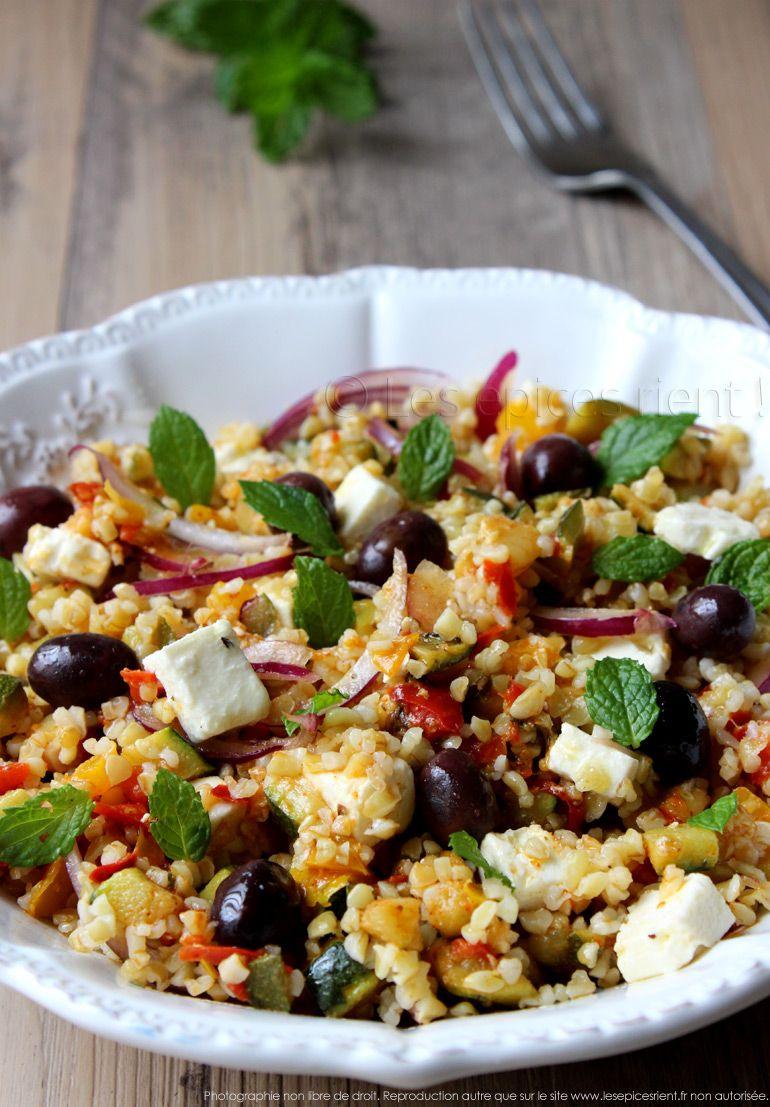 Salade dété : petits légumes méditerranéens, boulgour et feta