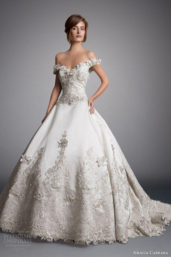 amalia carrara eve of milady 2014 off shoulder ball gown wedding dress style 328