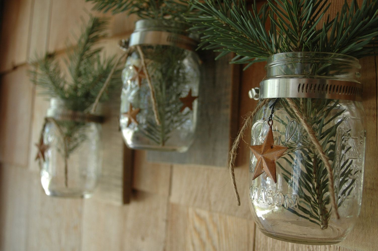 Trio of Mason Jars 1 with a string of Barn by PineknobsAndCrickets, $42.00
